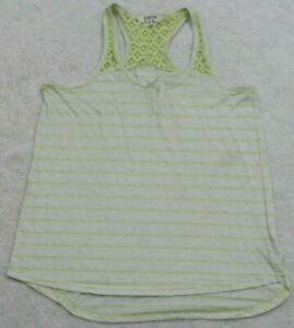 Tank-Top-Tee-T-Shirt-Sleeveless-Small-White-Yellow-Energie-Striped-Poly-Linen