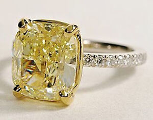 Platinum 2 05ct Cushion Cut Canary Diamond Engagement Ring Fancy Yellow Vs2 Gia Ebay