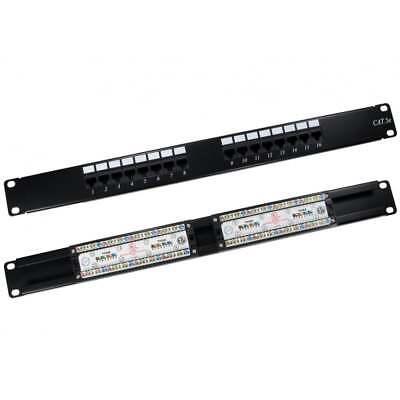 Brave 16 Ports Cat5e Panneau Patch 1u 48.3cm Réseau Rack Mount Rj45 Ethernet Racks, Chassis & Patch Panels