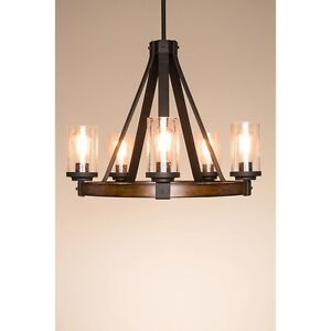 Details About Candle Chandelier 5 Light Style Lighting Dimmable Foyer Modern Rustic Lamp Wood