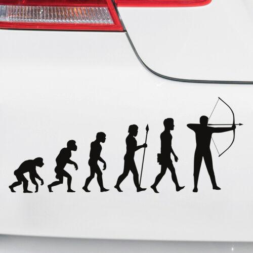 """Auto Aufkleber /""""Evolution-Bogenschießen/"""" Heckscheibe Sprüche witzig  Matt//Glanz"""