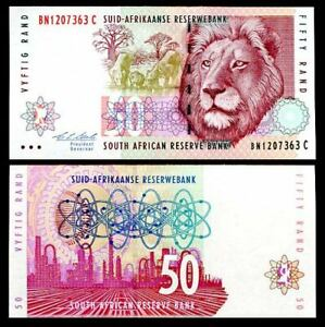 SOUTH AFRICA 50 RAND ND 1999 P 125a SIGN 7 AUNC ABOUT UNC