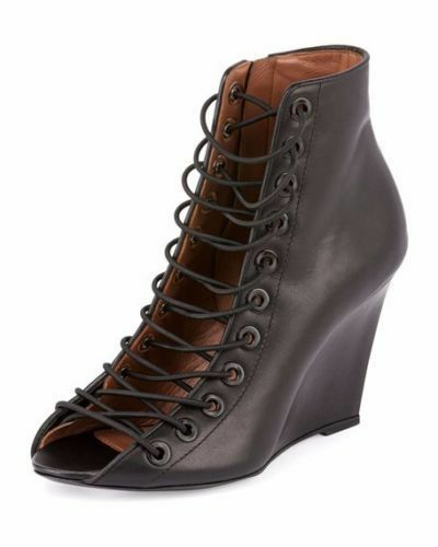 1250 Givenchy Lace Up Lace Front Wedge Bootie, Size 36.5, 6.5