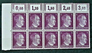 WW2-REAL-HITLER-3rd-REICH-ERA-GERMAN-BLOCK-OF-10-STAMPS-A-HITLER-6-RF-MARG-MNH