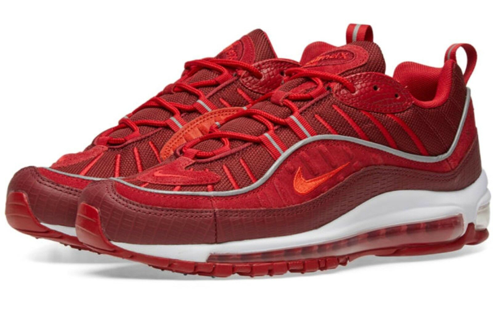 DS Uomo NIKE AIR MAX 98 SE TRIPLE RED RUNNING SHOES AO9380 600 SZ 9.5 FREE