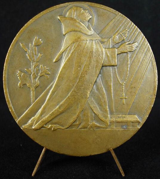 Médaille Saint Dominique 1935 Branche De Lis Symbole De La Pureté Mouroux Medal 100% D'Origine