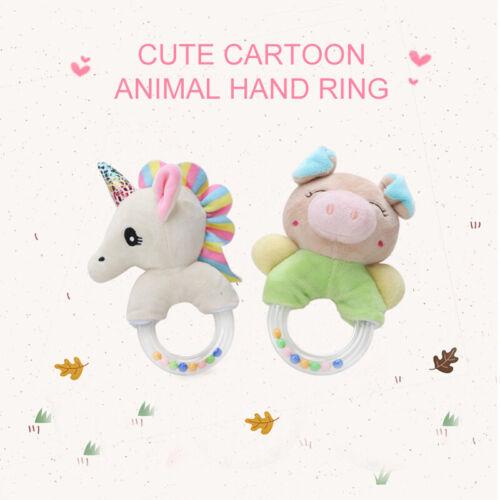 Newborn Infant Baby Soft Plush Rattle Bell Hand Ring Wrist Toy Unicorn /& Piglet