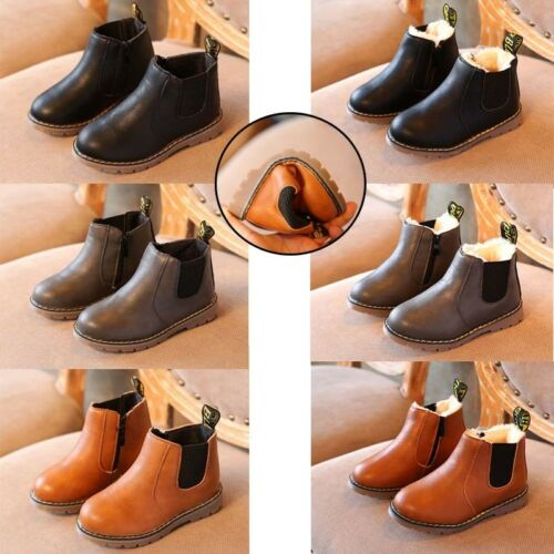 GIRLS KID TODDLER FLAT ANKLE CHELSEA CASUAL COMFY BOOTS SCHOOL WINTER SHOES SIZE