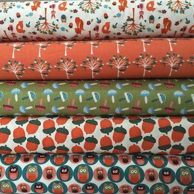 Fabric Freedom Woodland Animals 100% Cotton Fabric FQ Crafting Patchwork Orange
