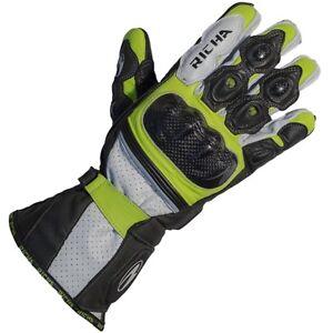 Richa Ravine Sports Leather Motorcycle Gloves Fluo Ebay