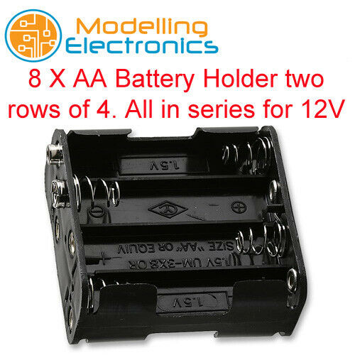 8 x AA Battery Holder with Snap Terminals All in series for 12V