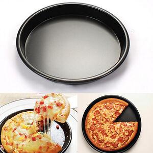 Black Round Deep Dish Pizza Pan Non Stick Pie Tray Baking