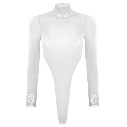 Womens Sheer Long Sleeve Turtleneck Bodysuit Leotard Bodycon Jumpsuit Romper Top