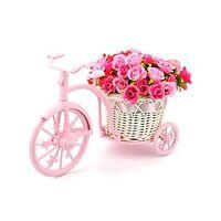Louis Garden Handmade Rattan Vase Basket Artificial Flower Pack (pink), New, Fre on Sale