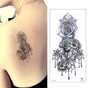 Details About Temporary Tattoo Paper Purple Rose Flower Tattoos Sticker For Women Fake Tatoo