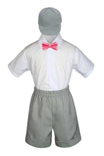 4pc Boy Toddler Formal Coral Bow tie Khaki White Black Shorts with Hat sz S-4T