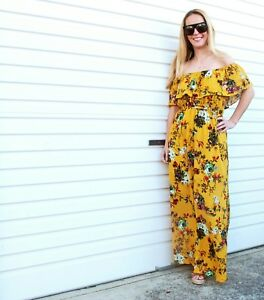 NEW-LADIES-OFF-THE-SHOULDER-FRILL-FLORAL-PRINT-MAXI-DRESS-MUSTARD-SIZE-8-14-16