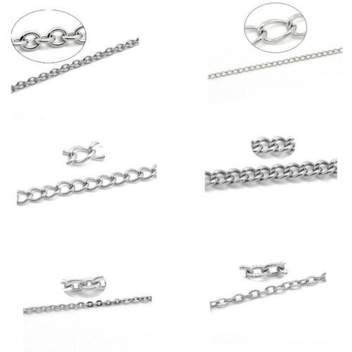 10M Stainlesss Steel Link-Opened Curb Chains Findings Silver Tone