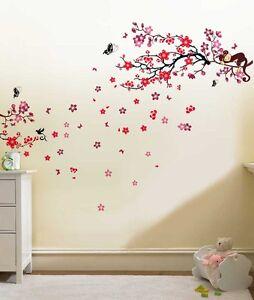 Wall-Sticker-Mural-Decal-Papier-Art-Decoration-Arbre-Singe-Fleur-de-fleur-de-famille