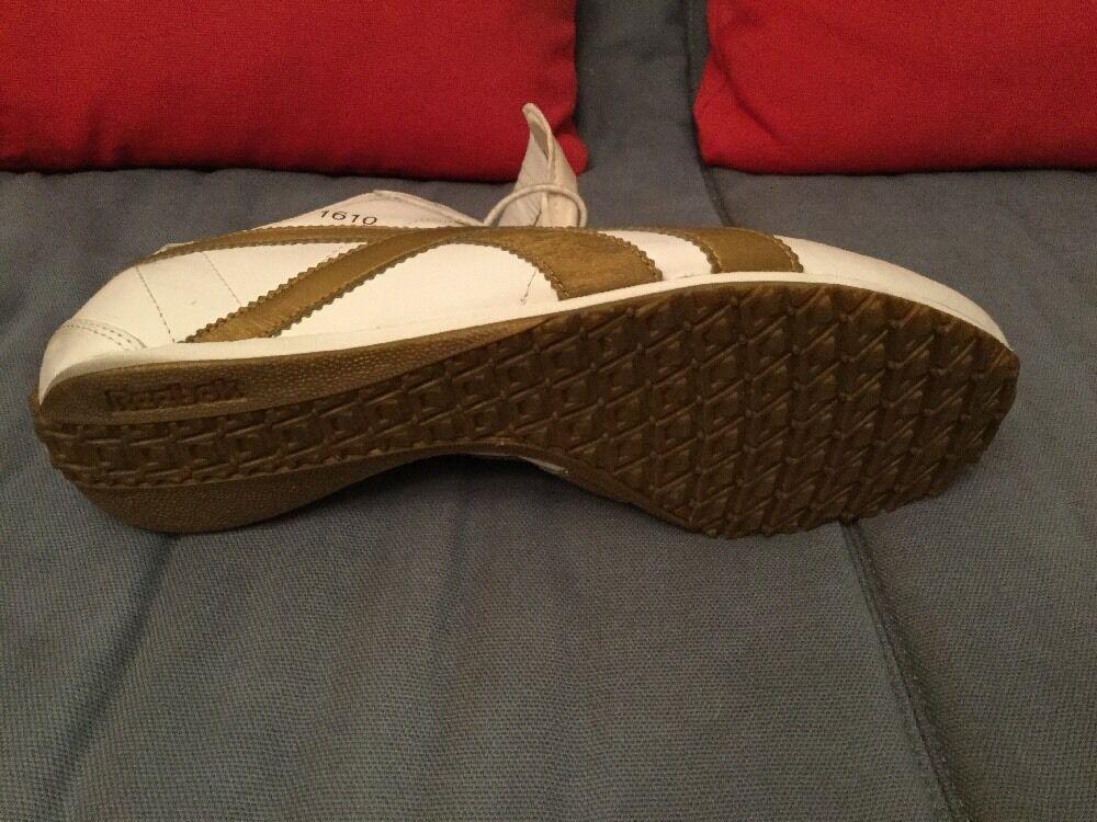 Reebok Sneaker Nr.1610 Nr.1610 Nr.1610 Weiß / Gold Echtleder RARE EU 43 94f644