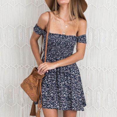 Womens Summer off shoulder Boho Dress Casual Floral Beach Short Mini Sundress