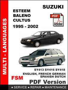 suzuki esteem baleno cultus 1995 2002 factory service repair rh ebay com 2002 suzuki esteem owners manual 2001 Suzuki Esteem Engine