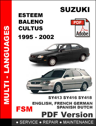 suzuki esteem baleno cultus 1995 2002 factory service repair rh ebay com 1999 suzuki baleno repair manual suzuki baleno 2001 repair manual