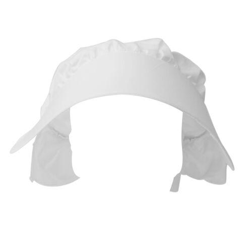 Kids Victorian Bonnet Hat White Cotton Fancy Dress Accessory One Size Fit All