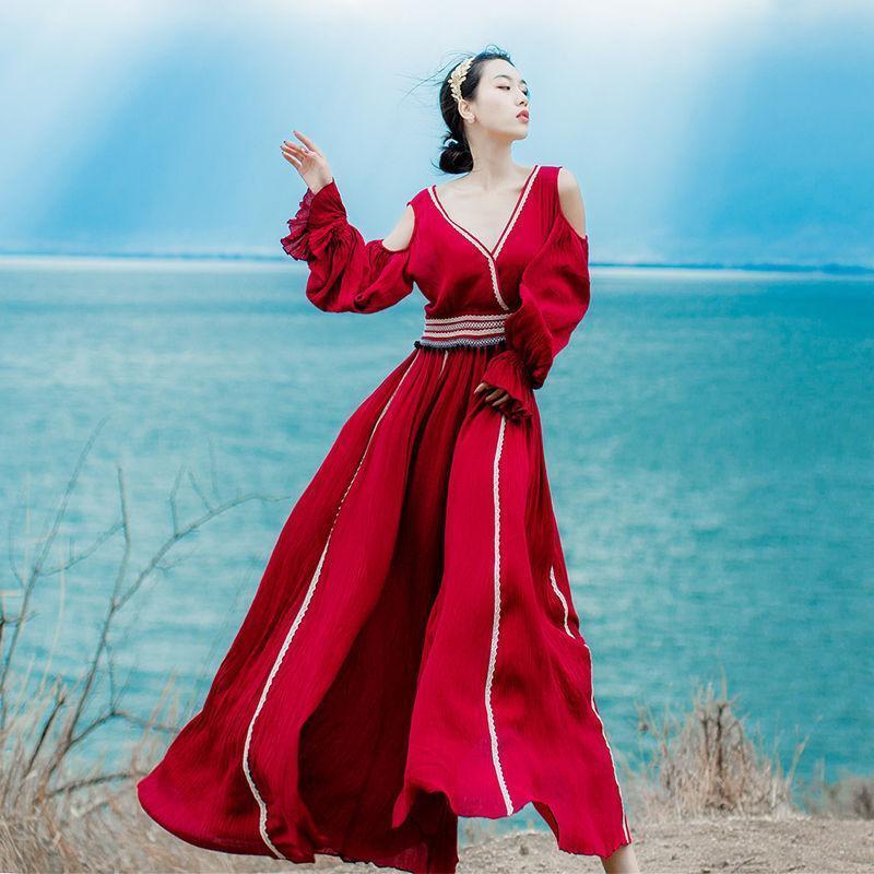 Elegant Goddess Loose Womens Fashion Japanese Sweet Fairy Beach Trousers Dress