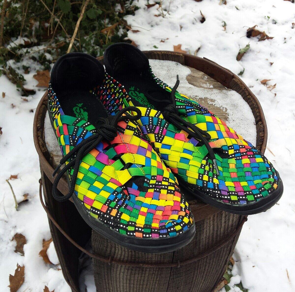 Serene Black Aragon Bright Multi color Neon Weave Flats shoes 7