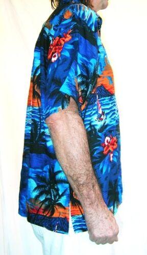 "STAG NIGHT HOLIDAY NEW LOUD Hawaiian shirt blue palms// orange sunsets  S 48/"""