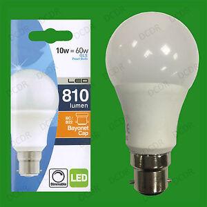 1 X 10w B22 (= 60w Incandescent) à Variation Led Perle Gls Ampoule Bc Variateur