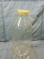 Vintage Meadow Gold Milk Bottle One Quart Duraglass Clear Pyro Glass Dairy