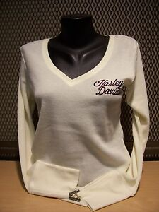 Harley-Davidson Women Whispering Wing Zipper Cuff Off White Thermal S,M,L,XL,2XL
