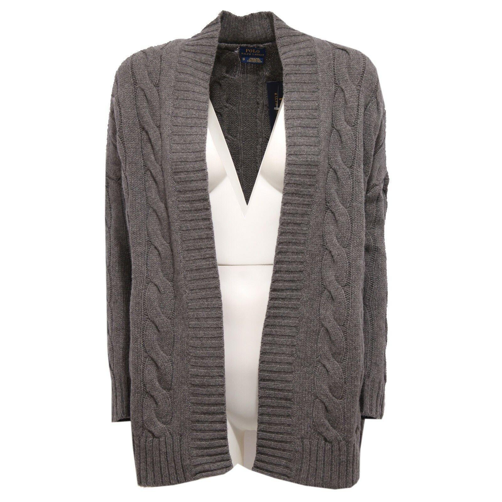 0082K bildigan Aperto kvinnor Polo Ralph Lauren grå Wool  Cashmere tröja kvinna