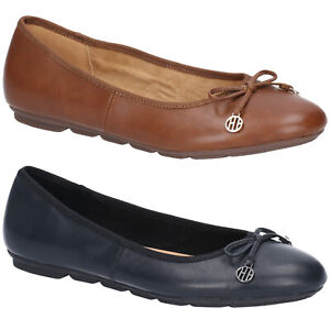 Hush-Puppies-Abby-Bow-Ballet-Leather-Slip-On-Pumps-Comfort-Flat-Womens-Shoes