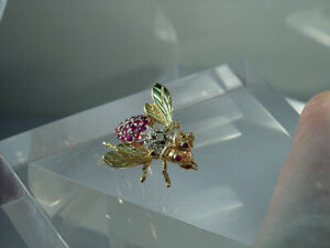 100-14KT-GOLD-AUTHENTIC-DIAMOND-amp-RUBY-WASP-BEE-PIN-BROOCH-LQQKY