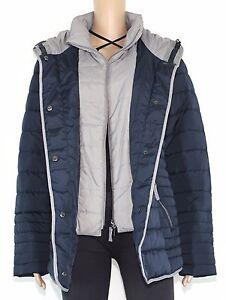 Details zu Bonita Damen Jacke Winterjacke Parka Mantel mit Kapuze blau grau Gr.42