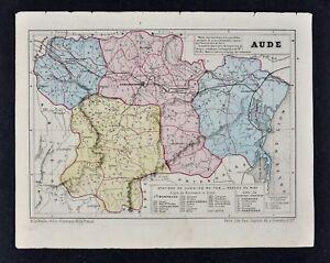 Limoux France Map.1864 Le Bealle Map France Department Aude Carcassonne Narbonne