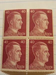 Ww2-German-Adolf-Hitler-block-of-4-Stamps-Deutsches-Reich-Nazi-40rpf-Unused