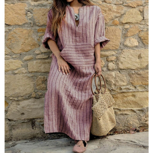 Women Summer Beach Boho Floral Lace Baggy Kaftan Maxi Dress Long Dress Oversize