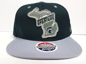 new arrivals 92753 27e1b Image is loading Michigan-State-Spartans-Zephyr-Cap-Flat-Brim-Snapback-