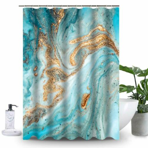 Uphome Marble Bathroom Shower Curtain Heavy Duty White and Grey Fabric Shower C