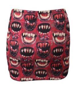Kreepville-666-Halloween-Print-Scary-Bloody-Lips-Teeth-Monster-Mini-Skirt-Sz-L