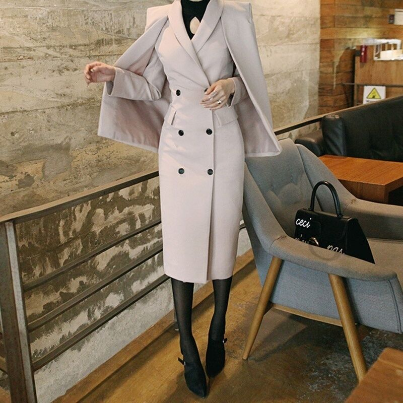 Slim Womens Double-breasted Wool Blend Shawl Outwear Cape Med Long Trench Coat