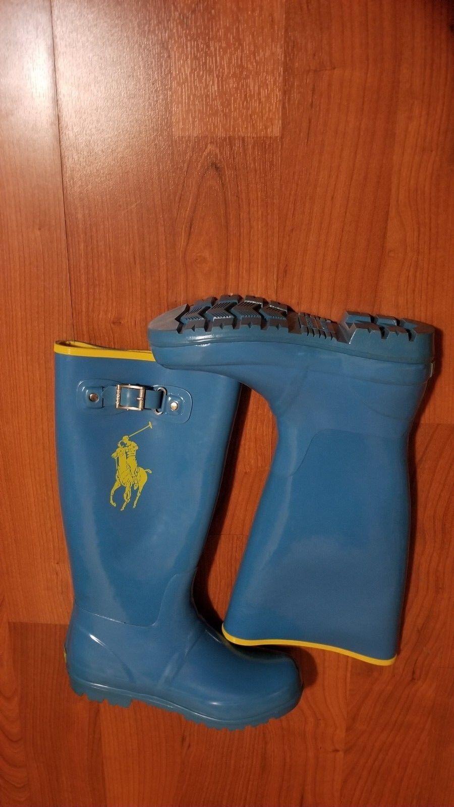 Ralph Lauren Polo Rain Boots Womens Size 6 Blue Yellow Big Pony Shoes