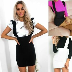 Womens-Ladies-Bodycon-Pinafore-Strap-Ruffle-Frill-Party-Short-Mini-Party-Dress