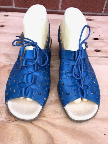 WORISHOFER women buckle Sandal Cork Wedge blue pe