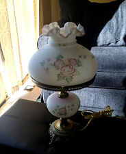 Fenton Hand Painted Roses Parlor Table Lamp Signed Mint NoRes
