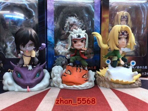 3pcs//set Naruto Shippuden Tsunade Jiraiya Orochimaru Cute PVC Figure New In Box
